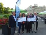 """Remise de 2 chèques de 5000€ à l'Association Laurette Fugain (Leucémie) et """"En finir avec la Polio"""" en présence de V. Demouy, S. Fugain, JP Coutant , C Michaud"""